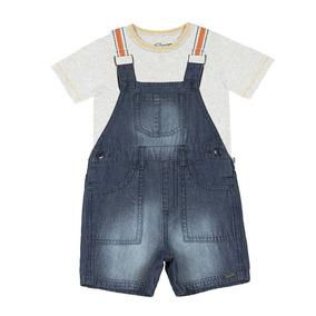 87700d4577 Conjunto Bebê Menino Trick Camiseta Jardineira Jeans Oferta