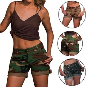 Bermuda Camuflada Feminina Army Barra Virada Moda Militar