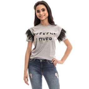 Blusa Avulsa T-shirt Estonada Aplicação Feminina Roupas