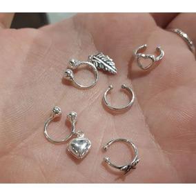 1 Piercing Orelha Cartilagem Falso Prata 925 Pressão