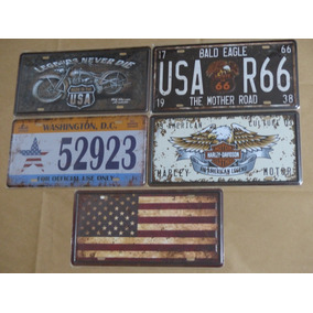 Kit 5 Placas Metal Decorativas Harley Davidson Route 66 Usa