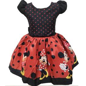 Vestido Infantil Festa Criança Minnie Temático Mine