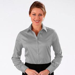 Camisa Social Feminina Cinza Uniforme - Camisas no Mercado Livre Brasil bd2101880bd
