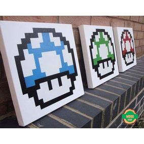 Kit Quadros Cogumelos Super Mario
