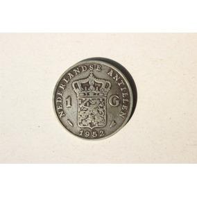 Antiga Moeda Das Antilhas Holandesas 1 Gulden 1952 Em Prata
