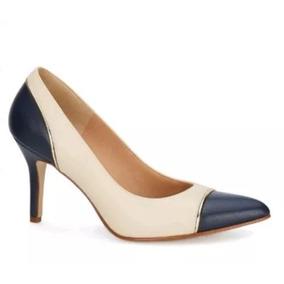 Zapatillas Andrea Ejecutiva Hueso Con Azul Marino 2599564