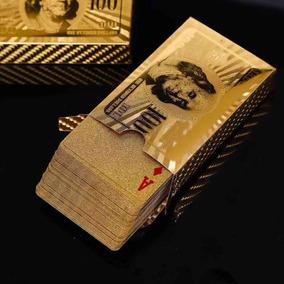 Baralho Dourado Ouro 24k Dollar Poker Cartas Jogos P