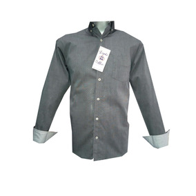 Camisa Casual Gris Y Puntos Azules Manga Larga