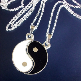 Dos Cadenas Y Dijes De Yin Y Yang Para Pareja En Plata.925