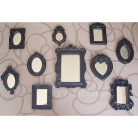 Kit 10 Pçs Molduras Resina Espelho Vintage Parede Quadros