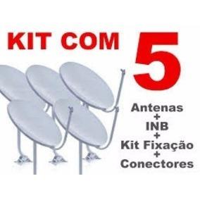 Kit 5 Antenas Completas 60cm Ku + 5 Lnb +100m +frete Gratis