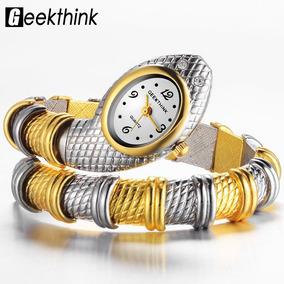 bbce0508ed8 Relógio Pulso Feminino Quart Prateado C  Dourado Cobra Cussi