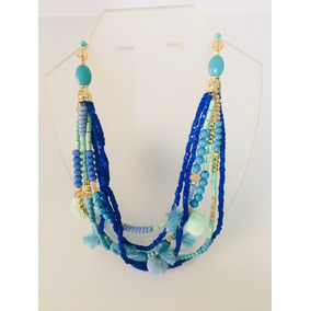 Collar Corales Con Pompones Turquesa Y Azul Shunia