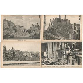 França 1914/1918 4 Cartões Postais Destruição 1ª Guerra Lt 1