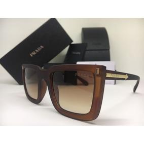 8cf3fe9472a27 Óculos De Sol Chunky Quadrado Tartaruga Marrom Prada - Óculos De Sol ...