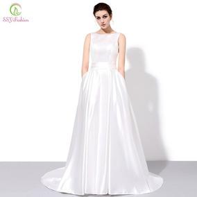 Vestido Novia Escote Redondo Ivory Moderno Economico L