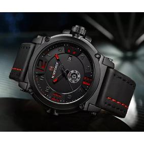 Relógio Masculino Esportivo Militar Naviforce Couro Preto