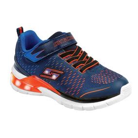 Tenis Skechers Azul Naranja Para Niño