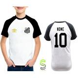 f99733ac6a8e2 Camisa Camiseta Infantil Santos Personalizada Raglan