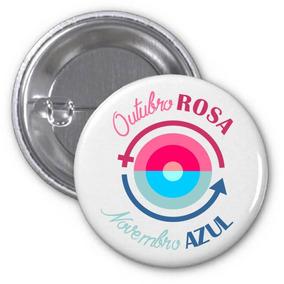 20 Botons Outubro Rosa Novembro Azul - 4,5cm