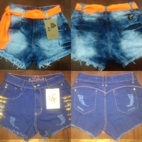 2 Shorts Jeans Feminino C/ Lycra Curto 38 Oferta Promoção