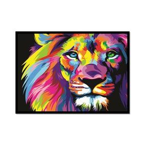 Leão Colorido - Poster Com Moldura Médio Quadro S/ Vidro