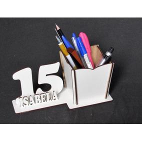 12 Porta Lápis Idade Personalizada Mdf Branco Debutante