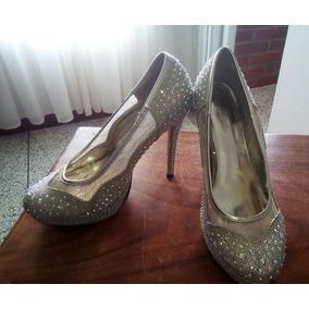 3393205159e Bellos Zapatos Dama De Tacón Dorados