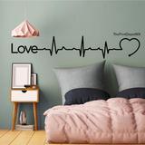 Vinil Decorativo Pared Love Latidos Electro Ritmo Cardiaco