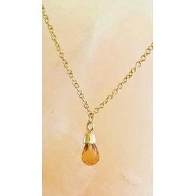 Collar Con Citrina 1ct Corte Briolette Cadena De 42cm Oro 14