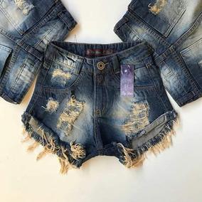 Kit Com 10 Shorts Jeans No Atacado - Hot Pants Cintura Alta