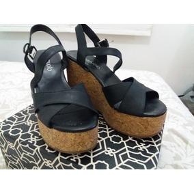 Paruolo Zapatos Sandalias Mercado Plataforma De En Negras Corcho MVGqSzpU