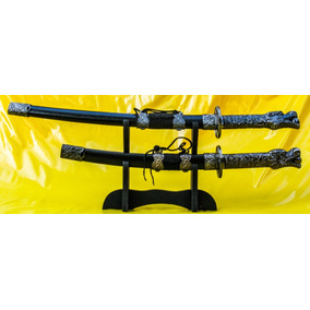 Kit Conjunto 2 Espadas Sabre Samurai Katana Dragão E Suporte