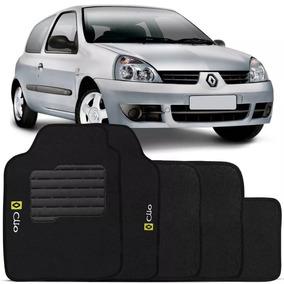 Jogo Tapete Carpete Clio 2001 2002 2003 2004 Logo Bordado