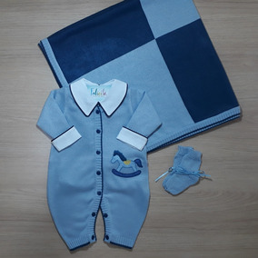 caf33a39d4 Conjunto Saida Maternidade Menino Verao - Roupas de Bebê Azul aço no ...