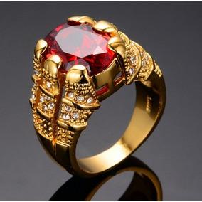 5741354c894 Anel Masculino Homem Banhado Ouro 18k Pedra Vermelha Granada