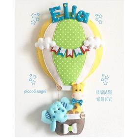 Enfeite Porta Maternidade Elefante No Balão Feltro 16b1b7c274ed7