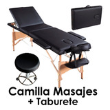 Pack Camilla Masajes Plegable, Mas Taburete Redondo