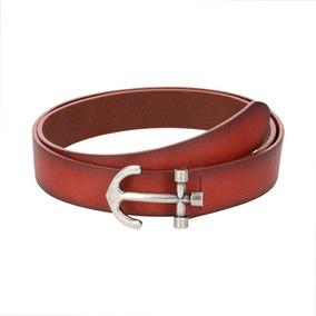 Cinturón Royal Flush De Piel Rojo Con Hebilla De Ancla