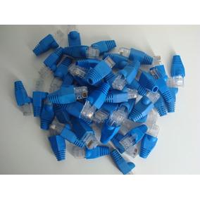 Conectores + Botas Azules Rj45 Utp Cat 5e. X 10 Unidades