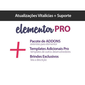 Elementor Pro 2019 + Extensões + Templates Extras + Brindes