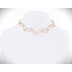 Nice Collar Gargantilla Aros Irregulares Baño Oro18k C/envio