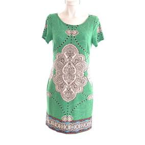 Dressbarn Vestido Verde Estampado De Mandalas 10 Mrsp$900
