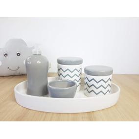 a6e2c6f8b Kit Higiene Porcelana Cinza E Rosa - Bebês no Mercado Livre Brasil