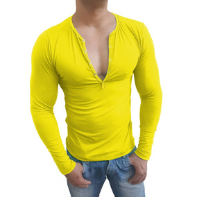 Camiseta Henley Masculina Slim Fit Botão Pres Básica Ml
