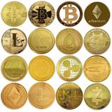 Lote 10 Monedas Bitcoin Ethereum Litecoin Doge Iota Qtum.