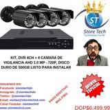 Kit, Dvr 4ch + 4 Camara De Vigilancia Ahd 1.0 Mp - 720p, Dis