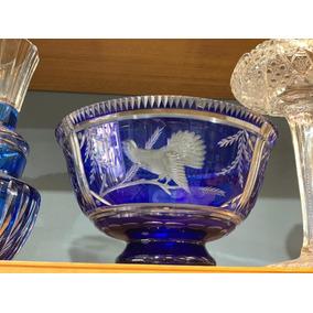 Antiguo Centre Mesa Frutera Cristal Azul Checo Aves B Oc139