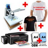 Kit Sublimação Prensa Termica + Impressora + Obm +camisetas