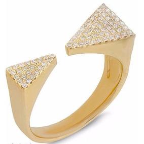 b43fb7c448a33 Anel Ouro Amarelo 18k Com 72 Pedras Diamantes De 0,5 Pontos. R  2.873